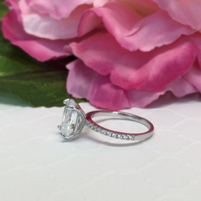 Oval Cut White Sapphire Classic Engagement Ring