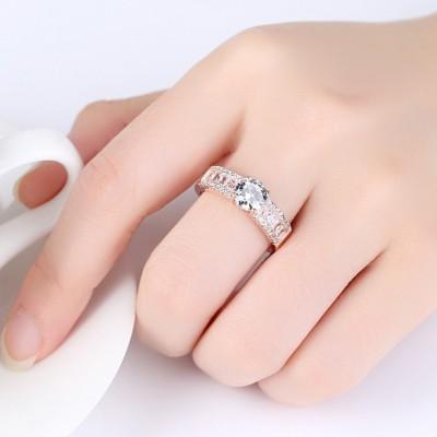 Round Cut White Sapphire Classic Engagement Ring