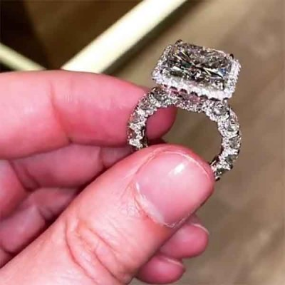 Radiant Cut White Sapphire 925 Sterling Silver Halo Engagement Rings