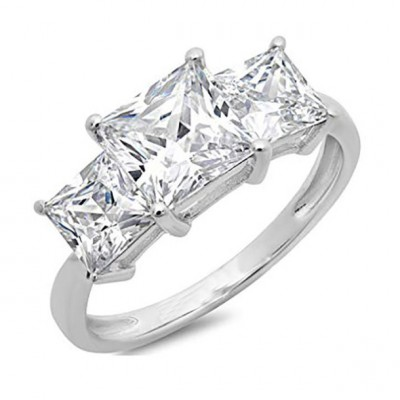 Princess Cut White Sapphire 925 Sterling Silver 3-Stone Engagement Rings