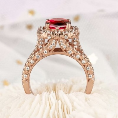 3.25CT Round Cut 925 Sterling Silver Rose Gold Halo Watermelon Engagement Rings