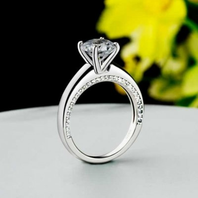 Round Cut White Sapphire 925 Sterling Silver Classic Engagement Rings