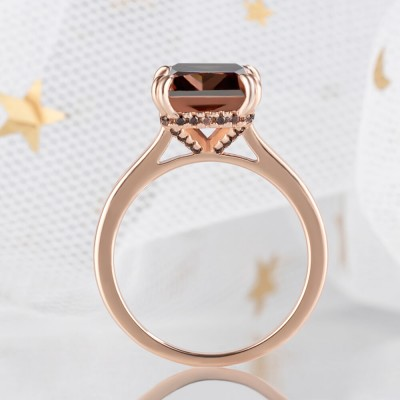 7.4CT Radiant Cut Chocolate 925 Sterling Silver Rose Gold Engagement Rings