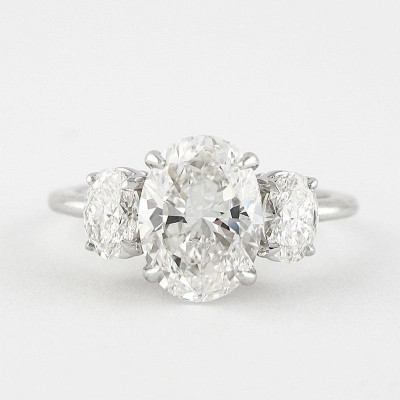 Oval Cut White Sapphire 925 Sterling Silver 3-Stone Engagement Rings