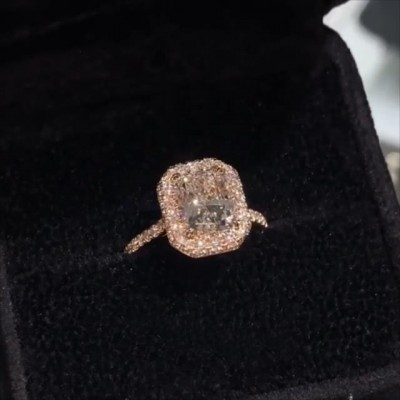 Radiant Cut White Sapphire 925 Sterling Silver Rose Gold Halo Engagement Rings
