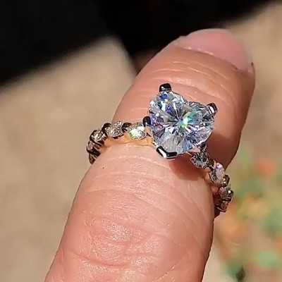 Heart Cut White Sapphire 925 Sterling Silver Gold Engagement Rings