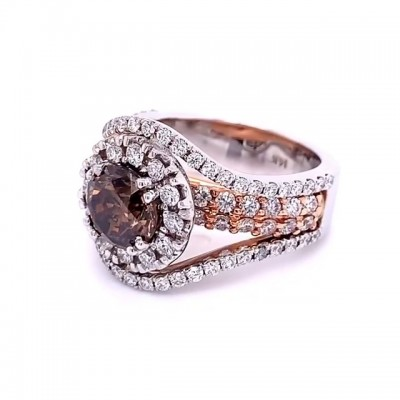 Round Cut Rose Gold 925 Sterling Silver Halo Engagement Rings