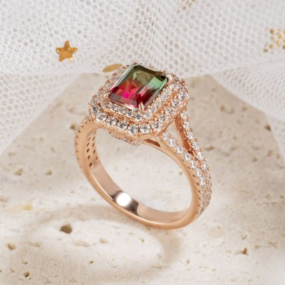 3.1CT Radiant Cut 925 Sterling Silver Rose Gold Double Halo Watermelon Engagement Rings