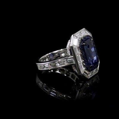 Emerald Cut Blue Sapphire 925 Sterling Silver Halo Engagement Rings