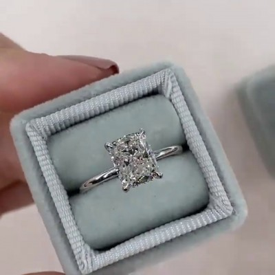 Radiant Cut White Sapphire 925 Sterling Silver Engagement Rings