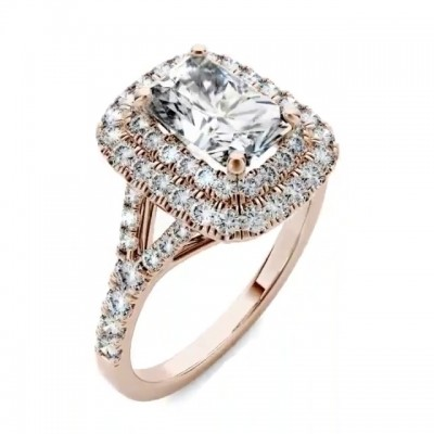 Radiant Cut?White Sapphire Rose Gold 925 Sterling Silver Halo Engagement Rings