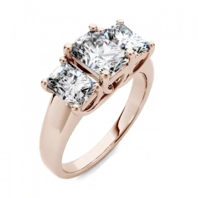Radiant Cut?White Sapphire Rose Gold 925 Sterling Silver Engagement Rings