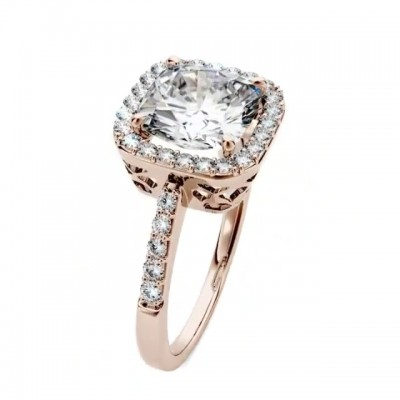 Cushion Cut White Sapphire Rose Gold 925 Sterling Silver Halo Engagement Rings