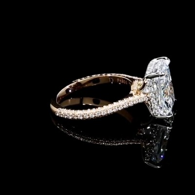 Radiant Cut White Sapphire Gold 925 Sterling Silver Engagement Rings