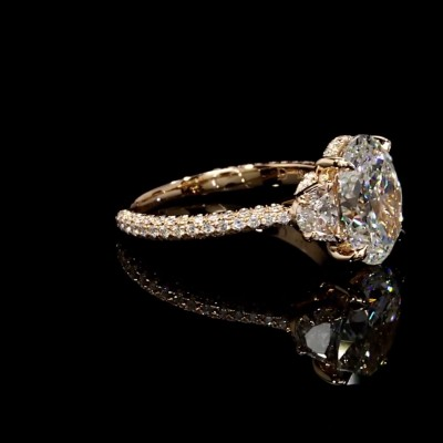 Oval Cut White Sapphire Gold 925 Sterling Silver Engagement Rings