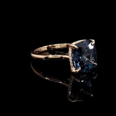 Cushion Cut Blue Sapphire Gold 925 Sterling Silver Engagement Rings
