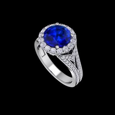 Round Cut Blue Sapphire 925 Sterling Silver Halo Engagement Rings