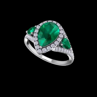 Pear Cut Emerald 925 Sterling Silver Halo Engagement Rings