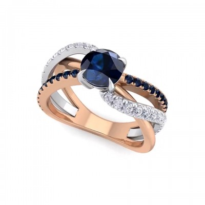 Round Cut Blue Sapphire Rose Gold 925 Sterling Silver Engagement Rings