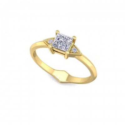Asscher Cut White Sapphire Gold 925 Sterling Silver Engagement Rings