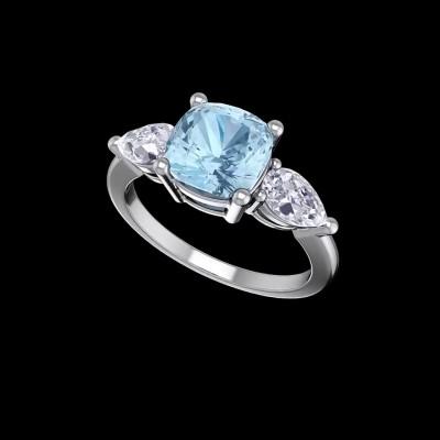 Cushion Cut Aquamarine 925 Sterling Silver Engagement Rings