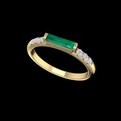 Radiant Cut Emerald Gold 925 Sterling Silver Engagement Rings