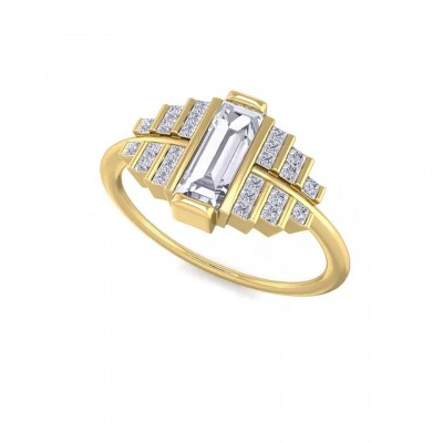 Emerald Cut White Sapphire Gold 925 Sterling Silver Engagement Rings