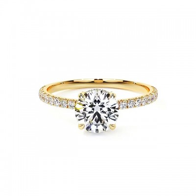 Round Cut White Sapphire Gold 925 Sterling Silver Engagement Rings