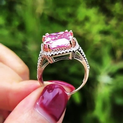 Radiant Cut Pink Sapphire 925 Sterling Silver Halo Engagement Rings