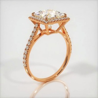 Cushion Cut White Sapphire Roae Gold 925 Sterling Silver Halo Engagement Rings