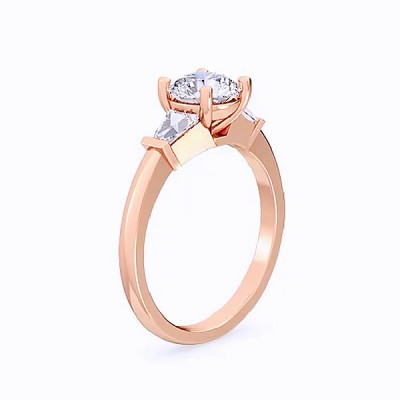Round Cut White Sapphire Roae Gold 925 Sterling Silver Engagement Rings