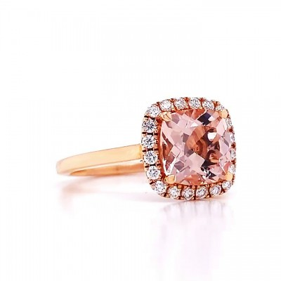 Cushion Cut Pink Sapphire Gold 925 Sterling Silver Halo Engagement Rings