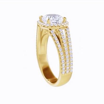 Asscher Cut White Sapphire Gold 925 Sterling Silver Halo Engagement Rings