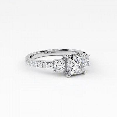 Asscher Cut?White Sapphire 925 Sterling Silver Engagement Rings