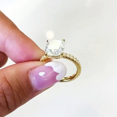 Cushion Cut White Sapphire Gold 925 Sterling Silver Engagement Rings