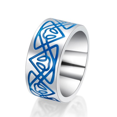 Silver and Blue 925 Sterling Silver Men's Wedding Bands