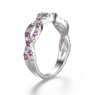Pink Sapphire Sterling Silver Women's Engagement Ring