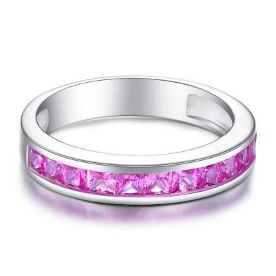 Princess Cut Amethyst 925 Sterling Silver Women's Wedding Bands