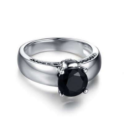 Round Cut Black Gemstone Sterling Silver Women's Ring
