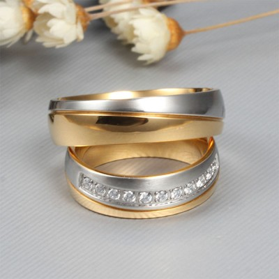 Elegant Gold and Silver Titanium Steel Gemstone Promise Ring for Couples