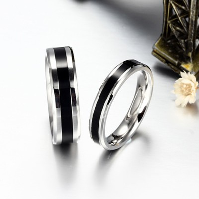 Elegant Black and Silver Titanium Steel Promise Ring for Couples