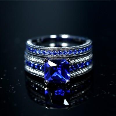 Asscher Cut Sapphire Black 925 Sterling Silver Bridal Sets