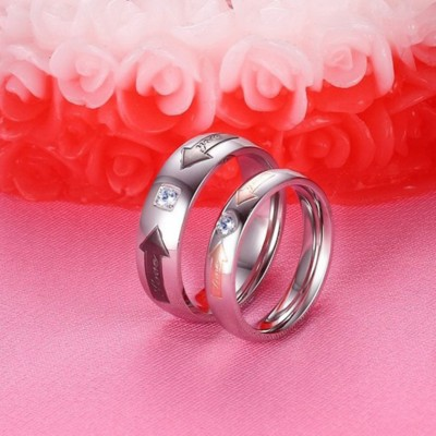 Titanium Steel Silver Rose Gold Black Promise Rings for Couples