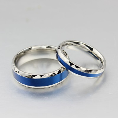 Titanium Steel Silver Blue Promise Rings for Couples