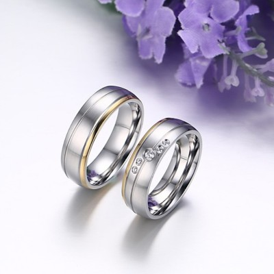 Gold & Silver Round Cut White Sapphire Titanium Steel Promise Rings for Couples