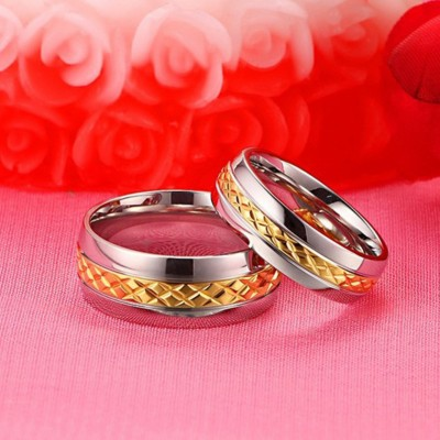 Gold & Silver Titanium Steel Promise Rings for Couples