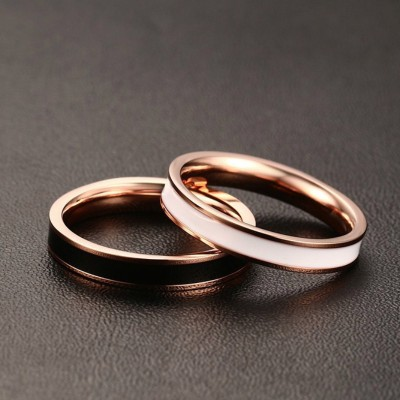 Black & White Rose Gold Titanium Steel Promise Rings for Couples