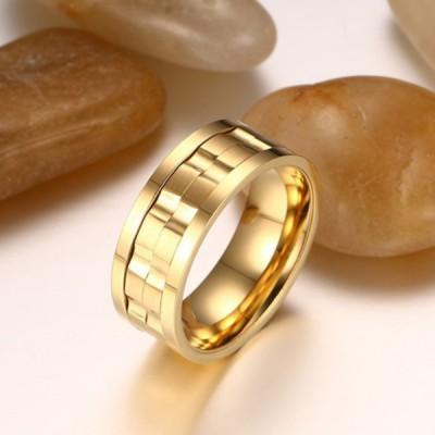 Titanium Unique Gold Color Men's Ring