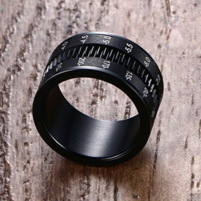 Titanium Rotatable Camera Shape Black Men's Ring