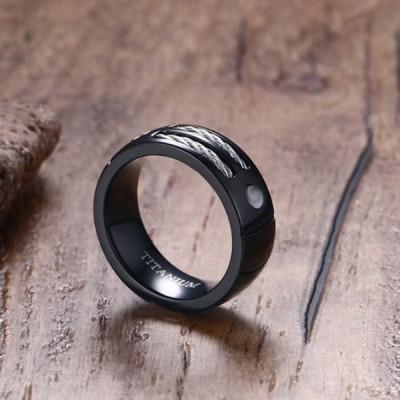 Titanium Round Cut White Sapphire Black Men's Ring